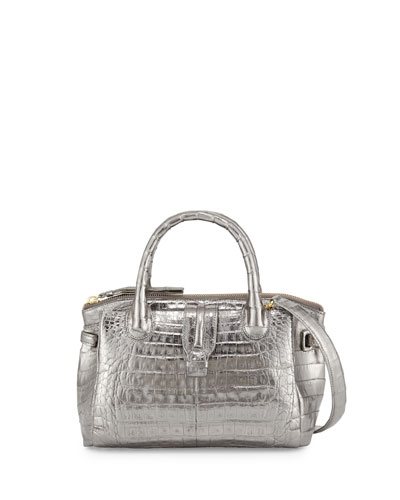 Mini Christina Crocodile Tote Bag, Anthracite
