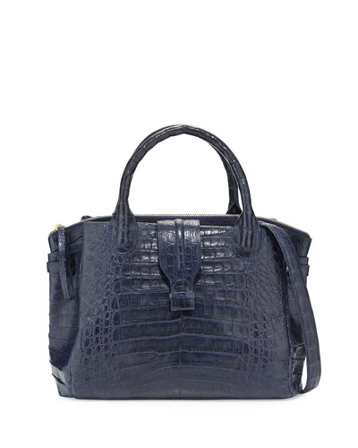 Medium Christina Crocodile Tote Bag, Nay