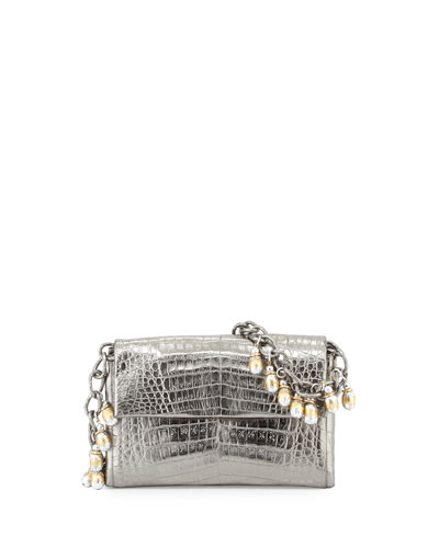 Metallic Crocodile Shoulder Bag w/Fringe Strap, Anthracite