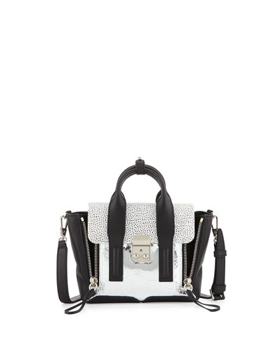 Pashli Mini Mixed-Texture Satchel Bag, Silver/Black/White
