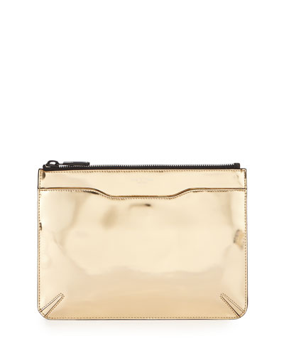 Metallic Leather Zip Clutch Bag, Rose Golden