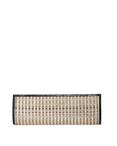 Woven Horse Hair & Crocodile Clutch Bag