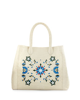 Laser-Cut Taj Mahal Crocodile Tote Bag, Cream