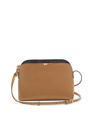 Multi-Pouch Calfskin Crossbody Bag, Copper/Black