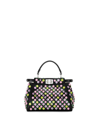 Peekaboo Mini Embellished Satchel Bag, Black/Multi