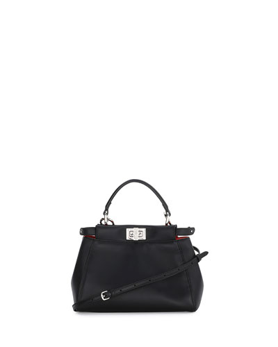 Peekaboo Mini Satchel Bag, Black