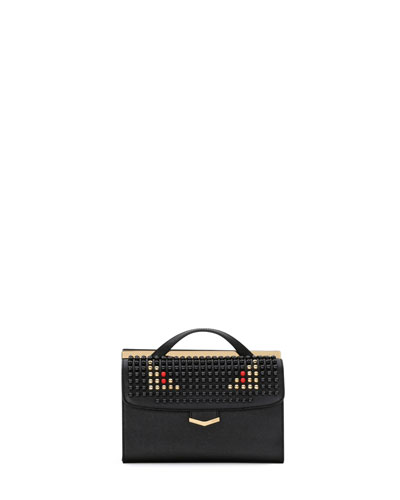 Demi Jours Small Studded Satchel Bag, Black
