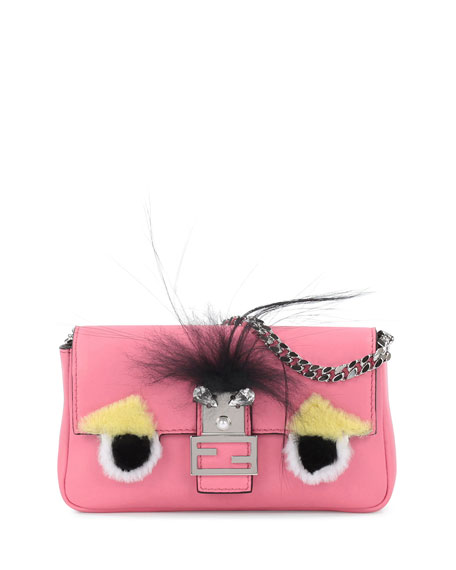 Fendi Baguette Micro Leather Monster Bag, Pink Multi