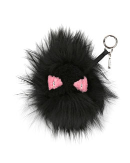 Monster Mixed-Fur Charm for Handbag, Black