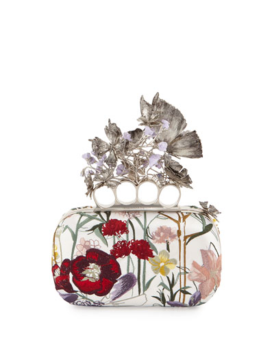 Flower-Embroidered Knuckle Box Clutch Bag, White Multi