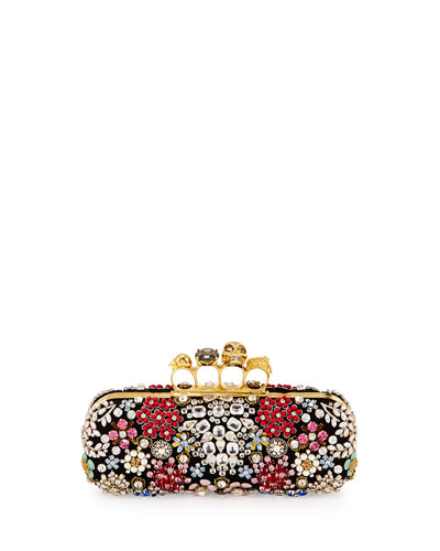 Knuckle Box Brooch Crystal Clutch Bag, Black