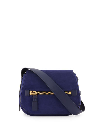 Jennifer Small Suede Saddle Bag, Blue