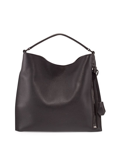 Alix Small Leather Hobo Bag, Black