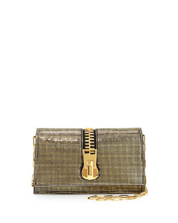 Sedgwick Allover Sequined Zip Clutch Bag, Black Pattern