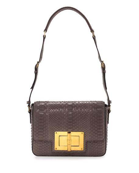 Natalia New Medium Day Python Shoulder Bag, Gray