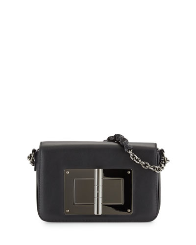 Natalia Large Flap-Top Shoulder Bag, Black