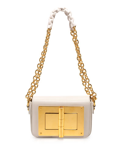 Natalia Small Leather Chain Shoulder Bag, White