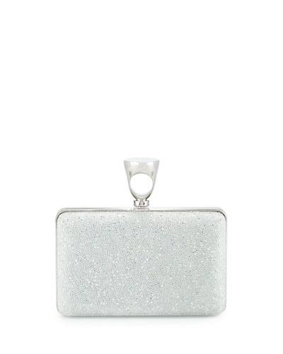 Micro Crystal Ring-Top Clutch Bag, White