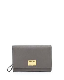 Leather Turn-Lock Wristlet Clutch Bag, Gray