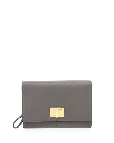 Leather Turn-Lock Wristlet Clutch Bag, Gray