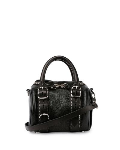 Mini Rockie Pebbled Leather Satchel Bag, Black