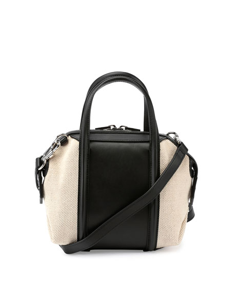 Mini Emile Canvas & Leather Satchel Bag, Black/White