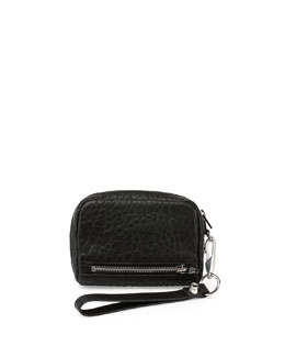 Large Fumo Pebbled Leather Wallet, Black