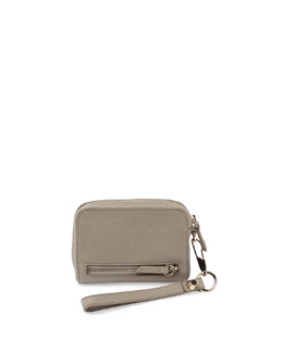 Large Fumo Pebbled Leather Wallet, Gray