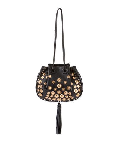 Inez Small Leather Drawstring Bag, Black