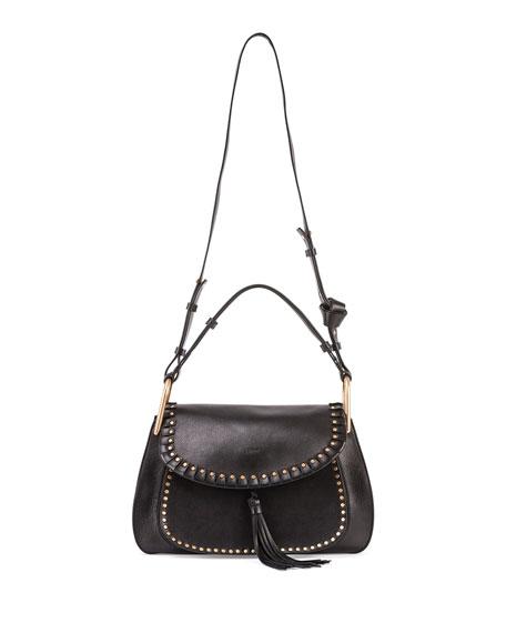 Chloe Hudson Leather Double-Carry Bag, Black