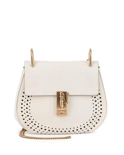 Drew Small Leather Saddle Bag, White