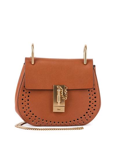 Drew Small Leather Saddle Bag, Caramel