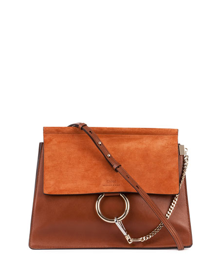 Chloe Faye Medium Leather/Suede Bag, Caramel