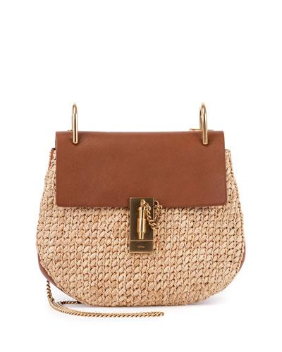 Drew Small Raffia Saddle Bag, Natural