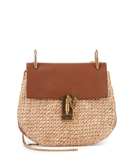Chloe Drew Small Raffia Saddle Bag, Natural