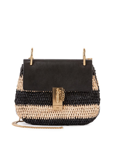 Drew Small Raffia Saddle Bag, Black Pattern