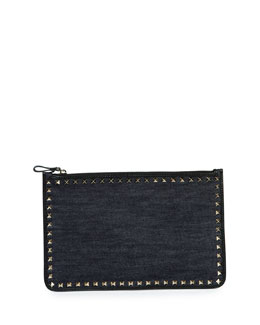 Large Rockstud Leather Pouch Bag, Navy
