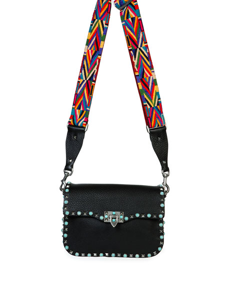 Rockstud Turquoise-Stud Saddle Bag w/Embroidered Strap