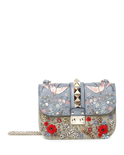 Small Rockstud Embroidered Leather Shoulder Bag