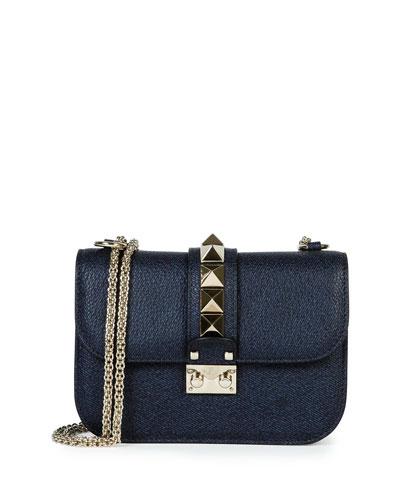 Rockstud Medium Chain Strap Shoulder Bag, Navy