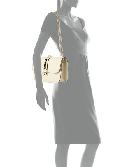 Medium Rockstud Flap-Top Shoulder Bag, Ivory