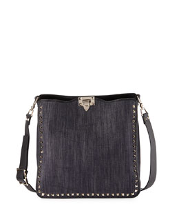 Rockstud Medium Denim Hobo Bag