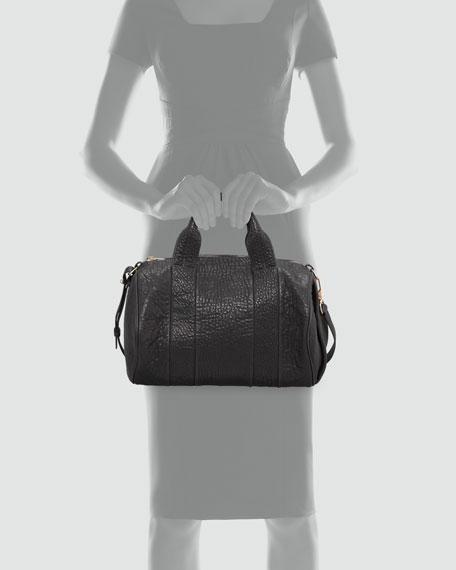 Rocco Stud-Bottom Satchel Bag, Black/Rose Golden