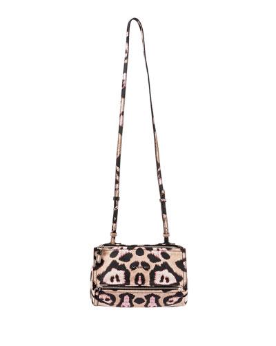 Pandora Leopard-Print Leather Crossbody Bag, Multi
