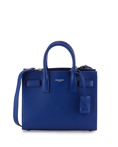 Sac de Jour Mini Grained Leather Tote Bag, Cobalt