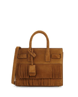 Sac de Jour Nano Suede Fringe Satchel Bag, Light Ochre