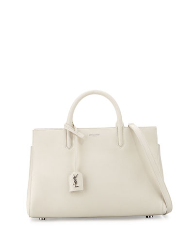 Rive Gauche Small Leather Tote Bag, Fog