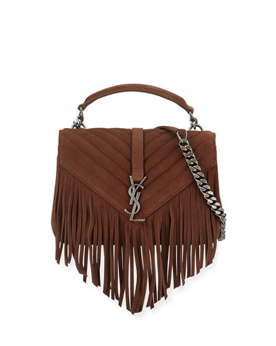 Monogram Fringe College Suede Shoulder Bag, Dark Brown
