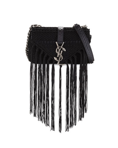Monogram Baby Chain Serpent Crochet Crossbody Bag, Black