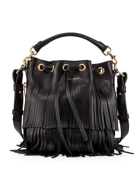 Emmanuelle Tiered Fringe Bucket Bag, Black (Noir)